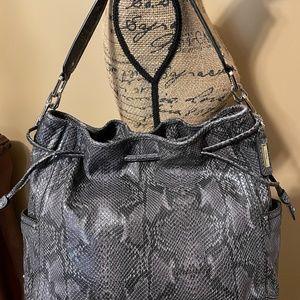COLE HAAN Grey Snake Print Leather Drawstring Bag